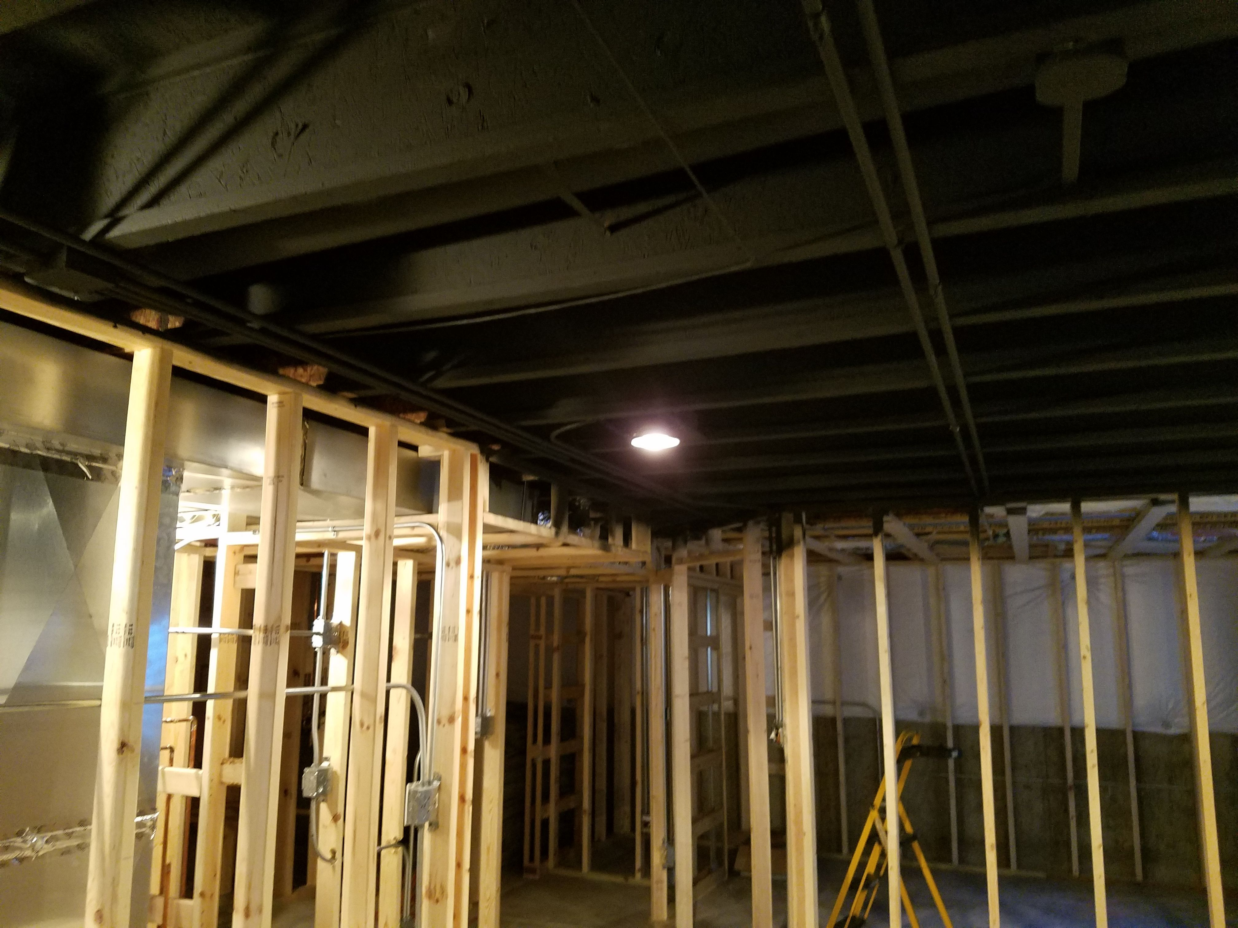 Basement Ceiling Painted Black Before Drywall Basement Ceiling Basement Ceiling Painted Basement Inspiration