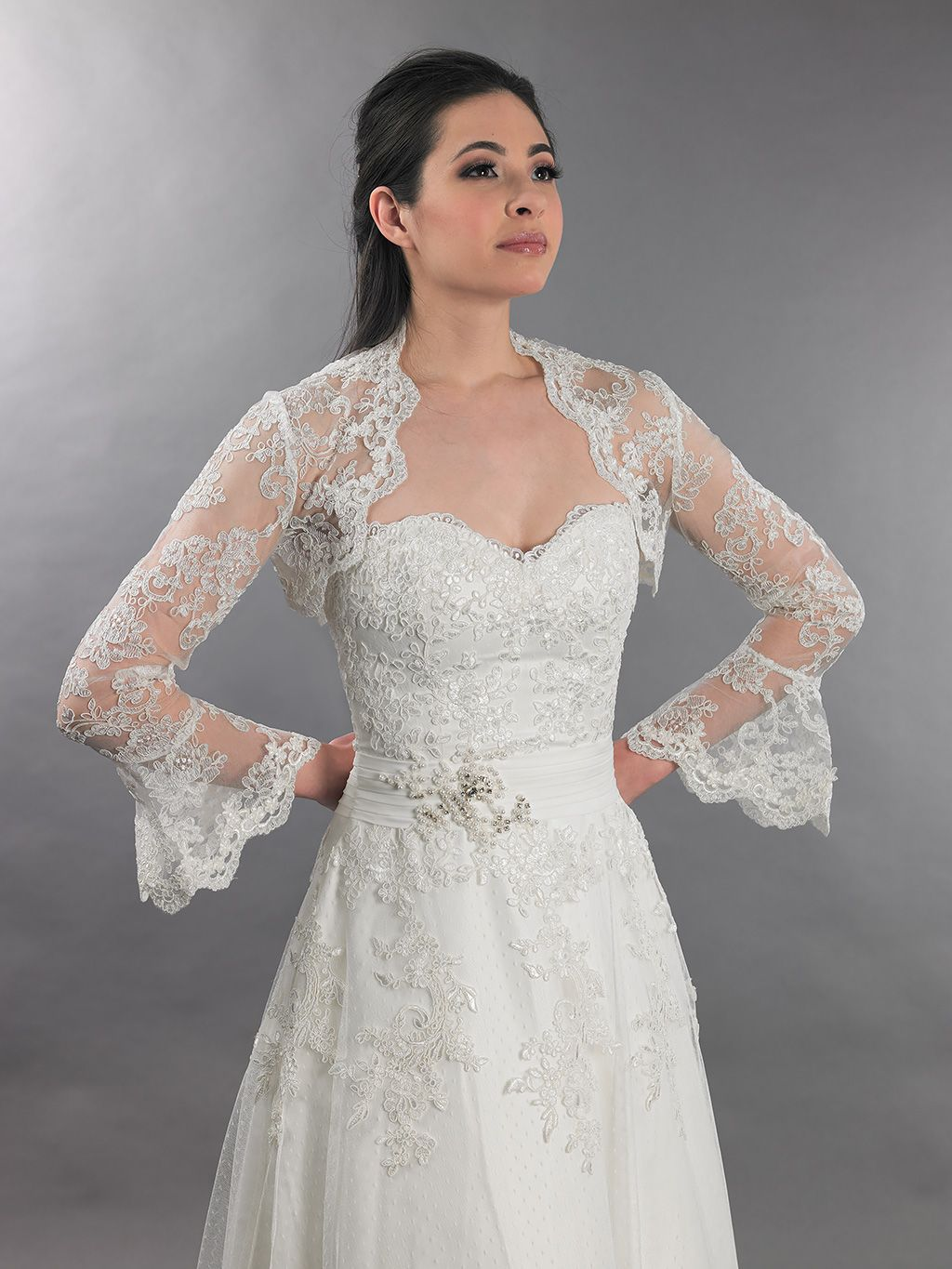 Ivory long bell sleeve bridal re embroidered lace bolero for Wedding dress long sleeve lace jacket