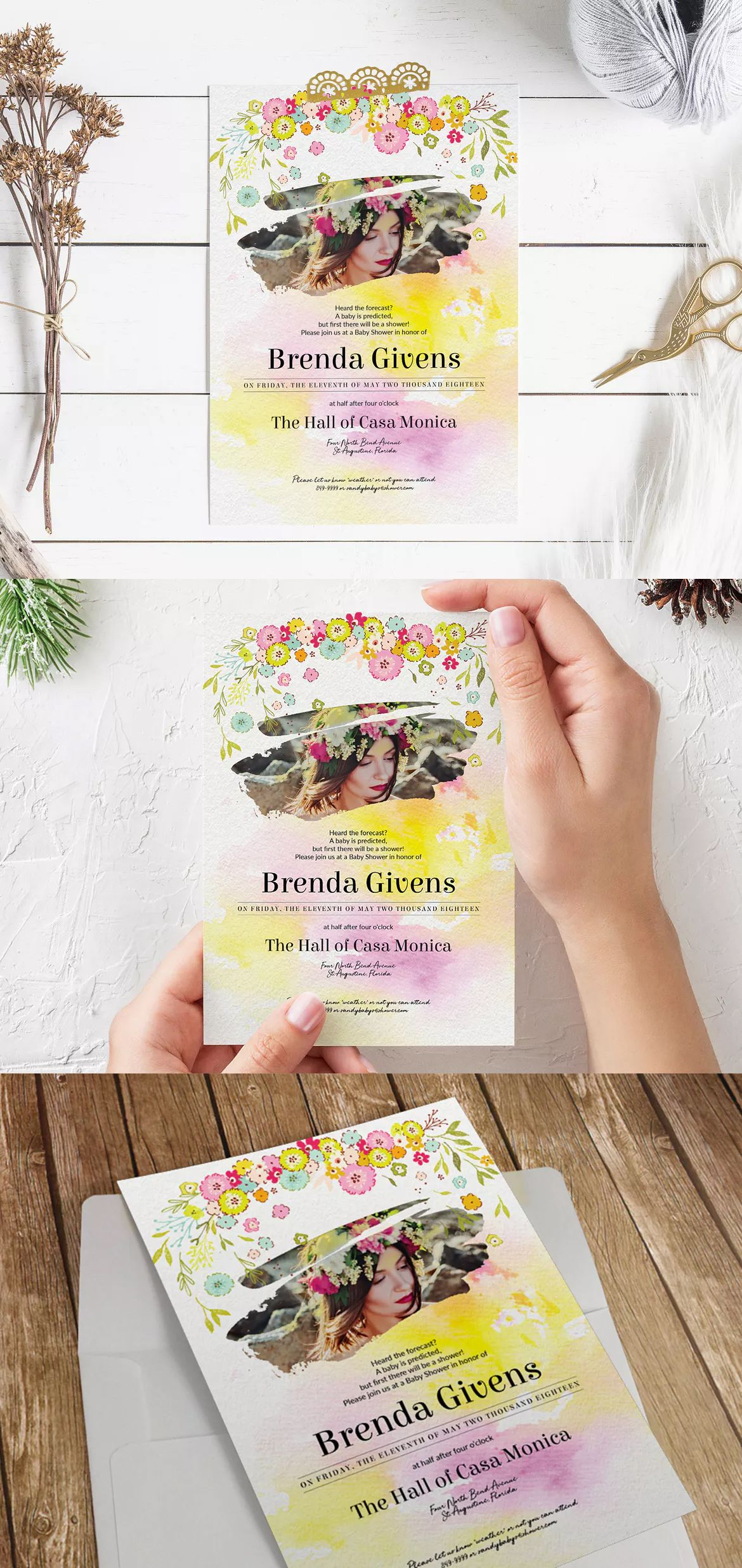 """Sunny Baby Shower Invitation Template PSD - 5"""" x 7"""" Invitation Card (size with bleed is .25"""""""