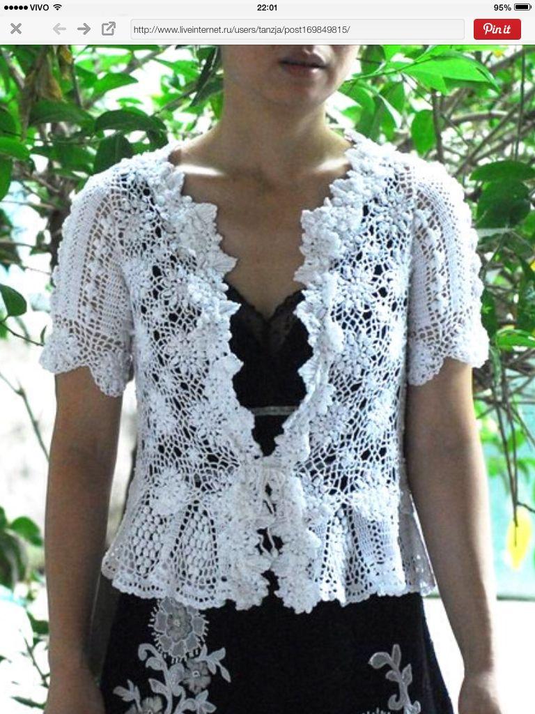 Casaco lindo | ~ vestidos de crochet ~~ 4 | Pinterest | Blusas de ...