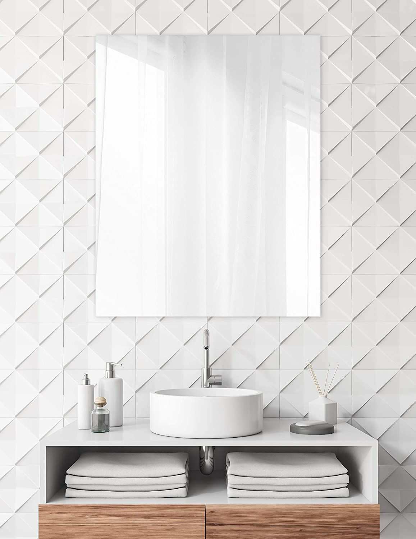 Gorgeous Frameless Wall Mirror With Polished Edge 24 X 30 Sleek Bathroom Mirror Sleek Bathroom Mirror Round Mirror Bathroom