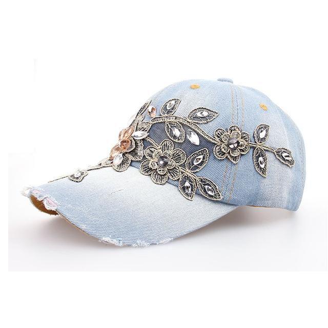 Super Cute Baseball Cap w Shining Flower Rhinestones Embroidery Hat