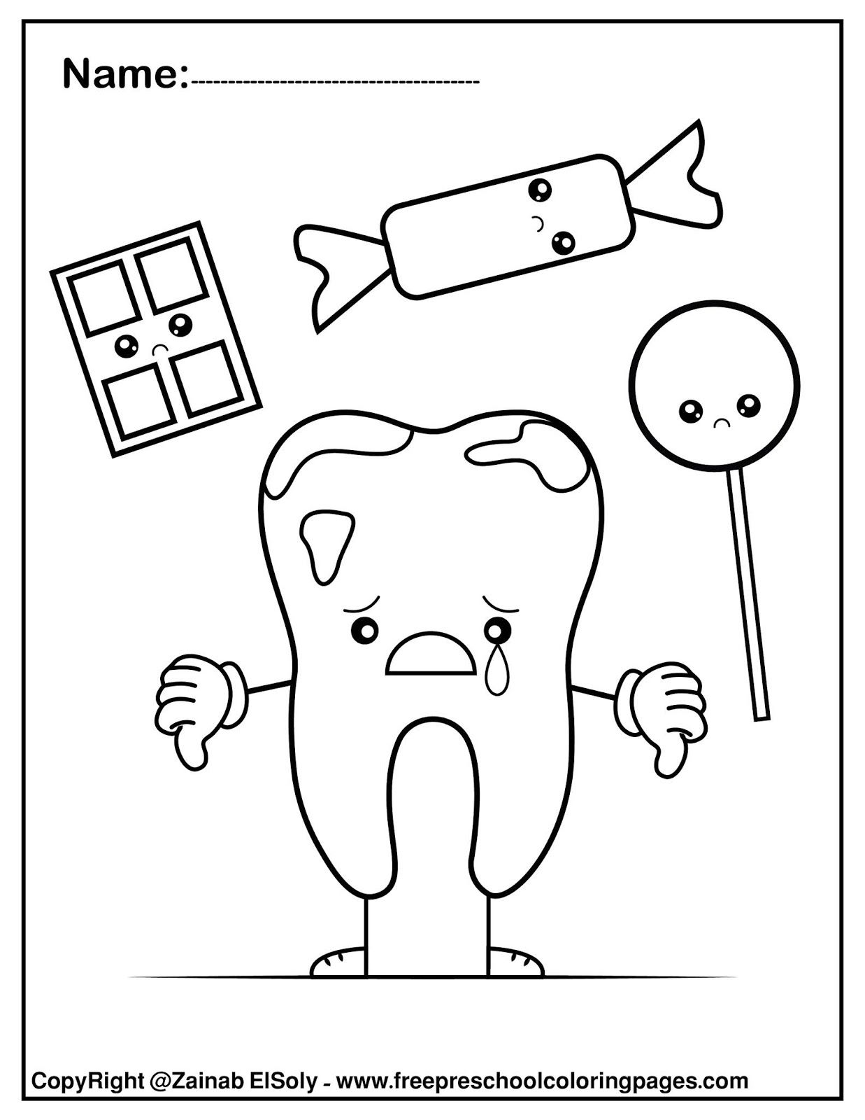 Set of Free Dental Care coloring pages for Kids in 15  Free