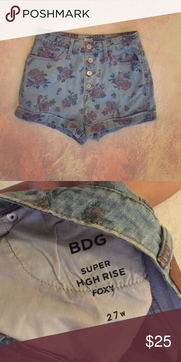 High-waisted floral denim shorts High-waisted denim shorts with a faded floral print! BDG brand from Urban Outfitters with about a 2' inseam. Super cute and casual, would pair well with a tight cotton top! No tags but only worn a couple times BDG Shorts Jean Shorts