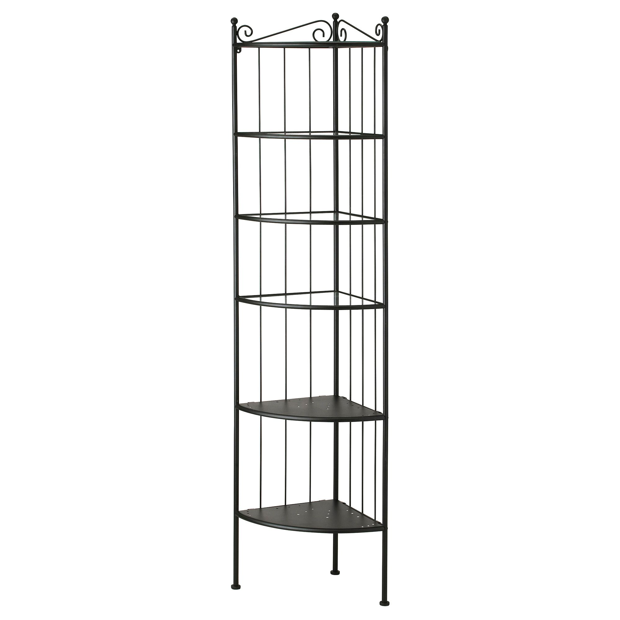 RÖNNSKÄR Corner shelf unit, black | Corner shelf, Corner and Shelves