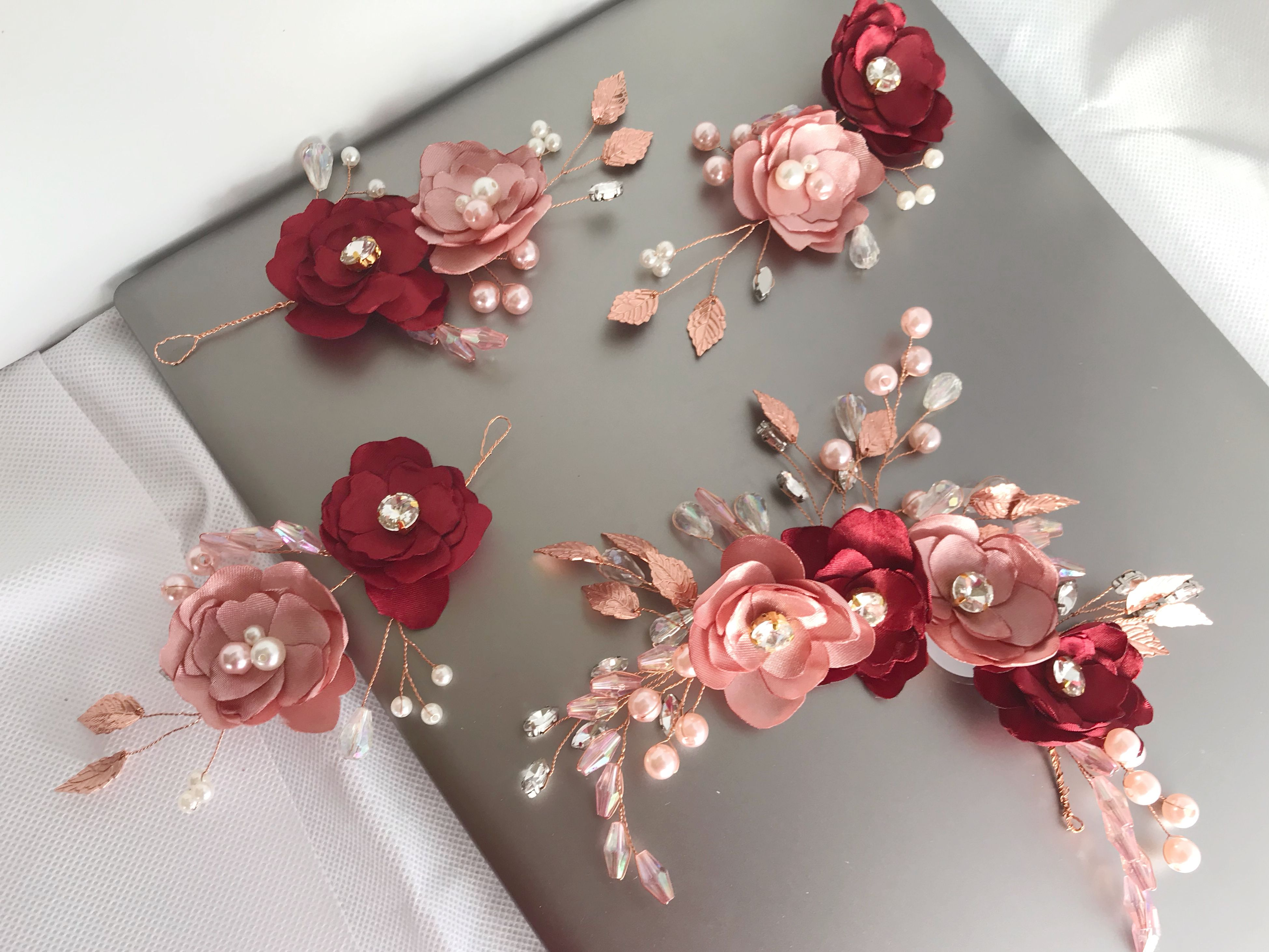 A Set Of 4 Bridal And Bridesmaid Hair Accessories Dusky Pink And Maroon Flower Hair Piece Bridesmaid Hair Accessories Bridesmaid Hair Flower Hair Pieces