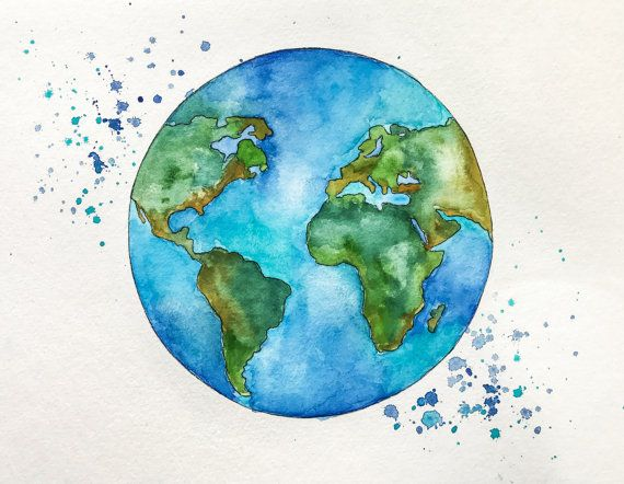 Original Globe World Map Watercolor Painting By Nikspaintgallery