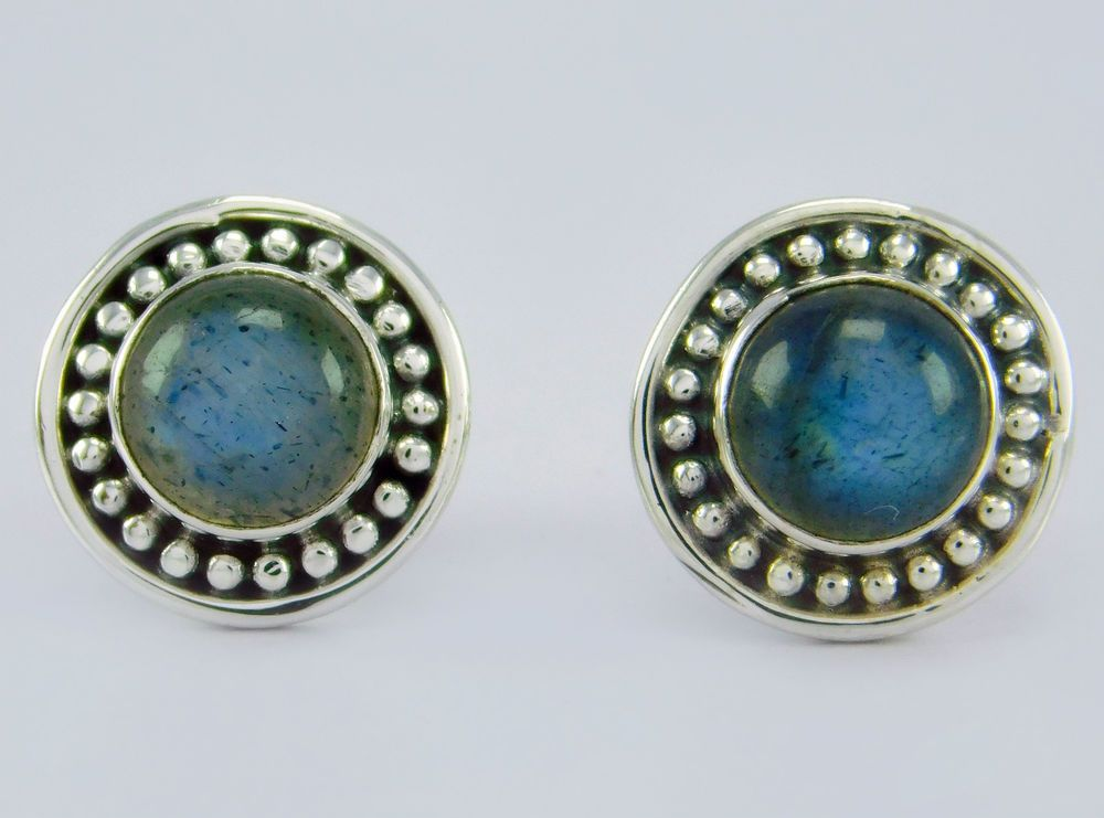 925 Sterling Solid Silver Jewelry Labradorite Stone Stud Earring s.10 mm SS-189