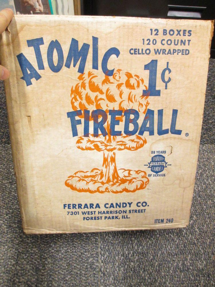 ATOMIC FIREBALL 1960s Ferrera candy store display box shipper mushroom cloud