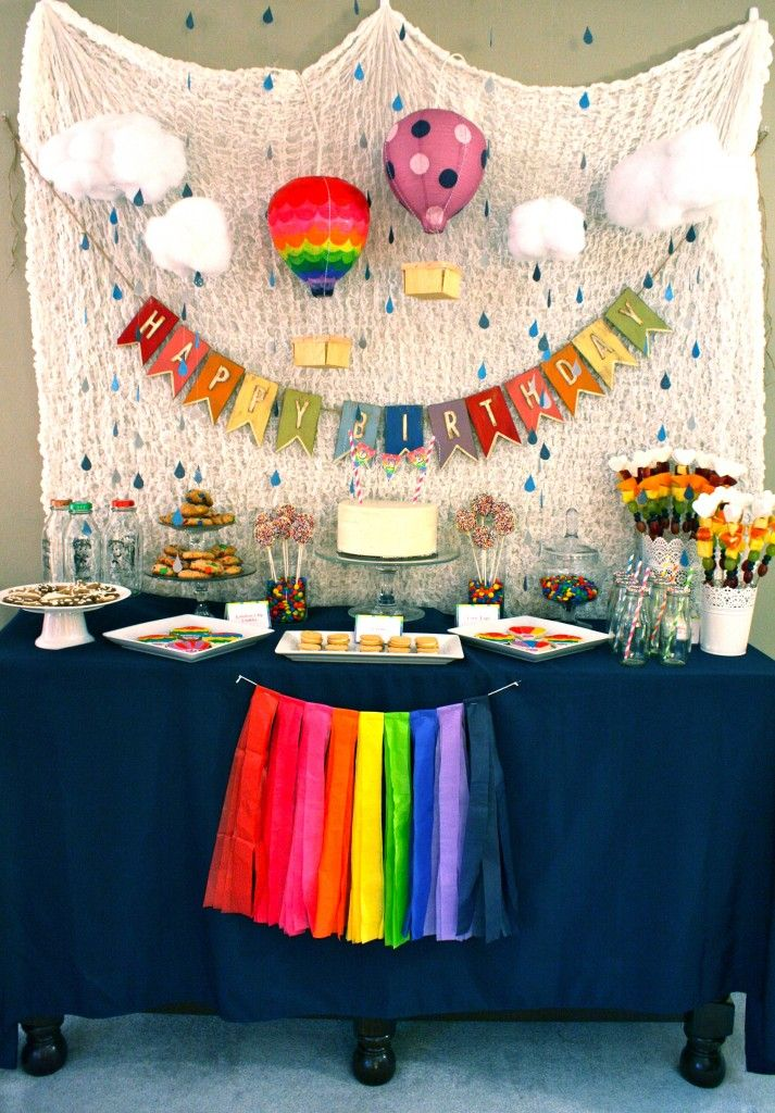 Love this party gorgeous so many little details rainbow for Balloon decoration for 1st birthday