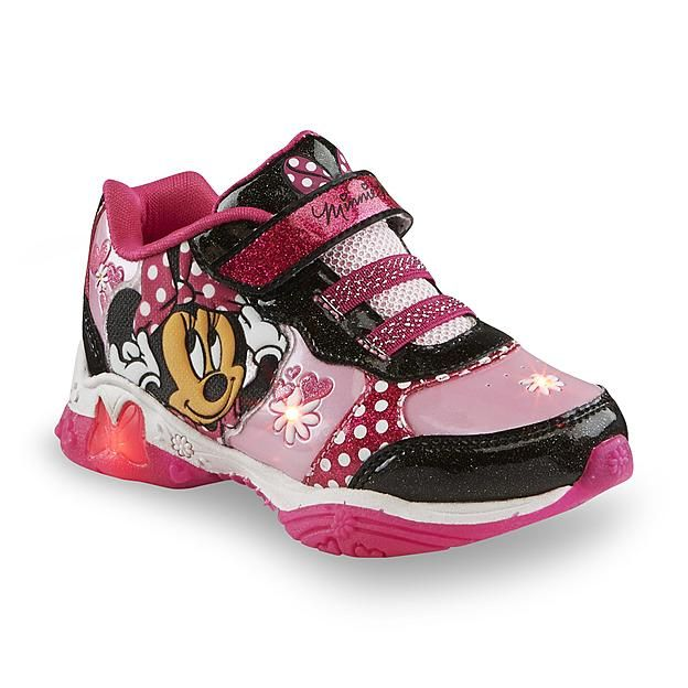 8354ea93f5f0e Disney Minnie Mouse Toddler Girl's Pink/Black/White Light-Up Sneaker ...