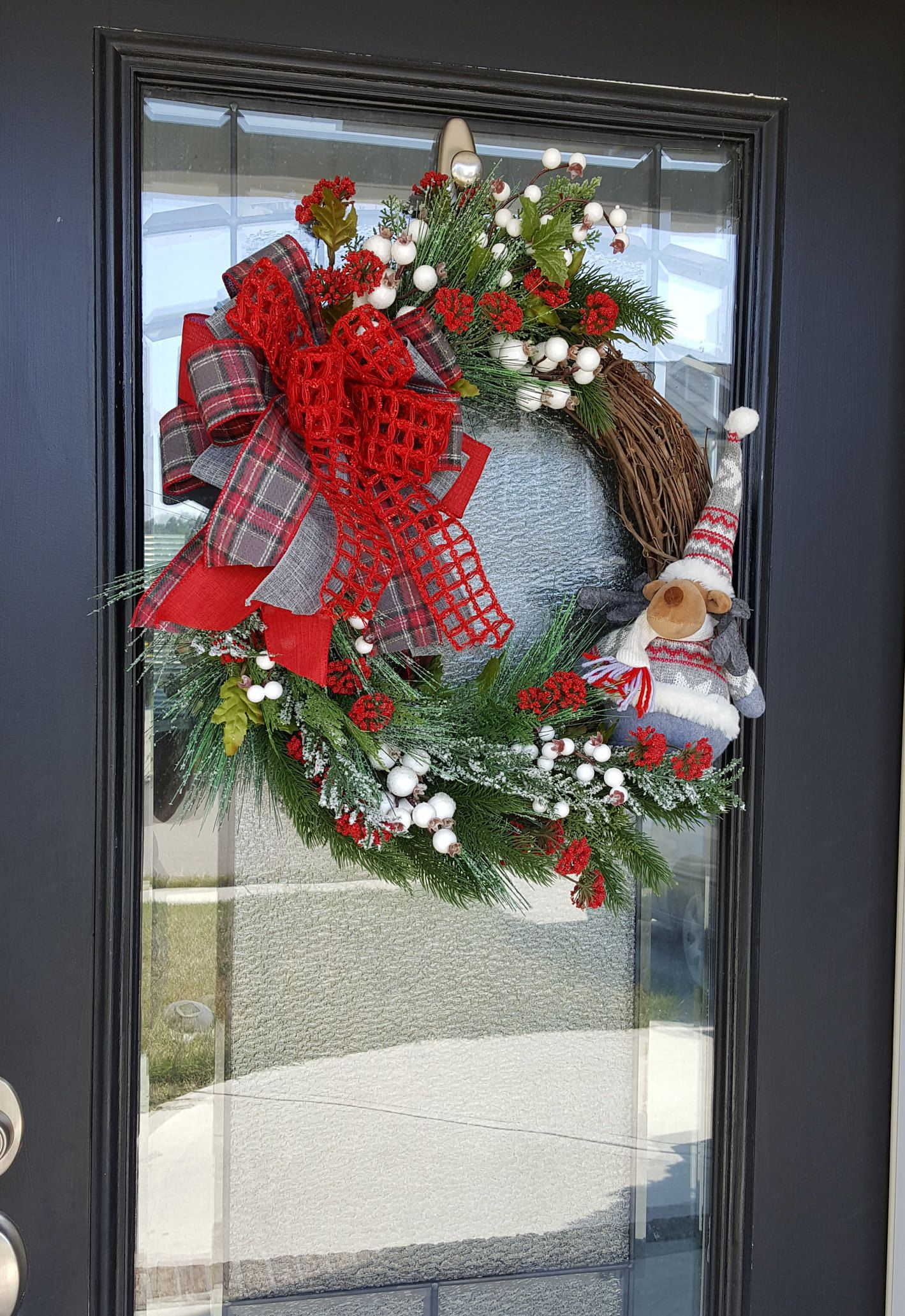 Photo of Farmhouse Grapevine Wreath with Moose, Rustic Design with Berries, Wreath with Bow, Winter Lodge Decor, Deer Wreath, Holiday Wreath