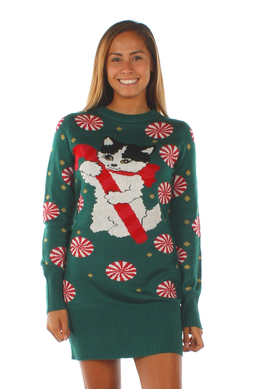 Women S Meowy Christmas Sweater Dress Cute Christmas Sweater Christmas Sweaters Christmas Sweater Dress