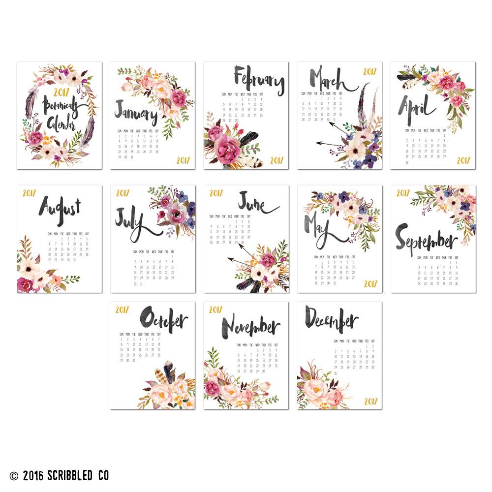 2017 Monthly Wall Calendar 11x14 2017 Calendar by ScribbledCo Mais