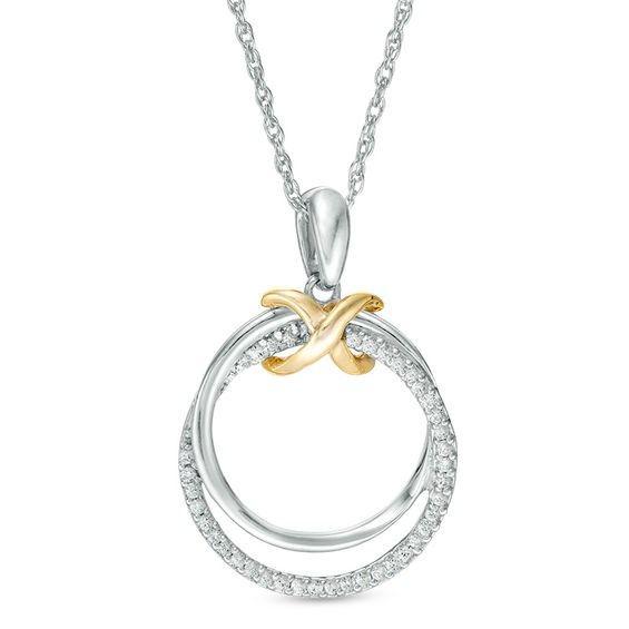 Zales 1/8 CT. T.w. Diamond Triple Infinity Necklace in Sterling Silver GfjCU0EV