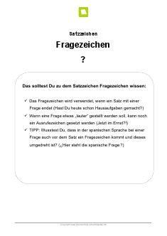 Arbeitsblatt: Satzzeichen Fragezeichen | Kostenlose Arbeitsblätter ...
