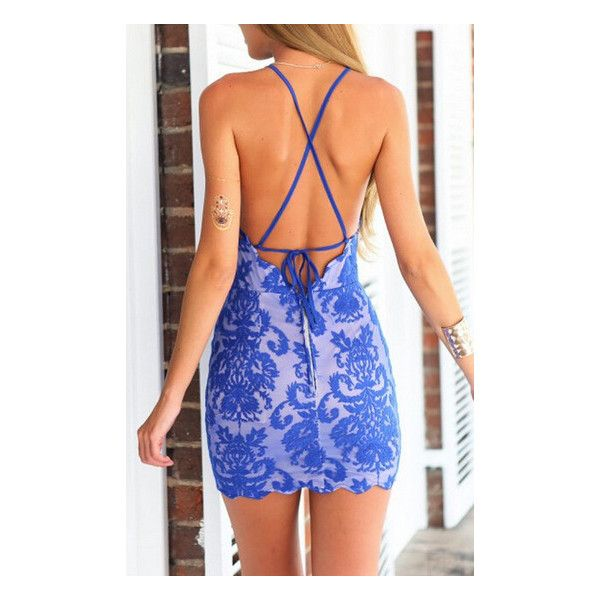 SheIn(sheinside) Blue Spaghetti Strap Backless Lace Embroidered... (£17) ❤ liked on Polyvore