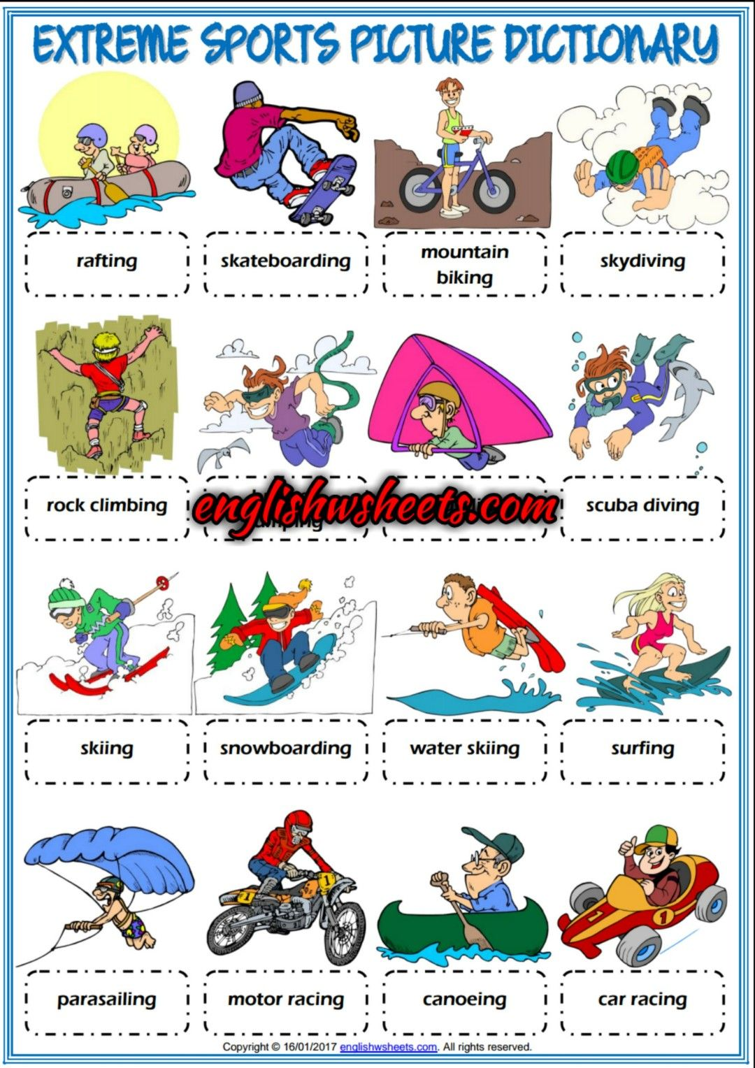 Extreme Sports Esl Picture Dictionary Worksheet For Kids