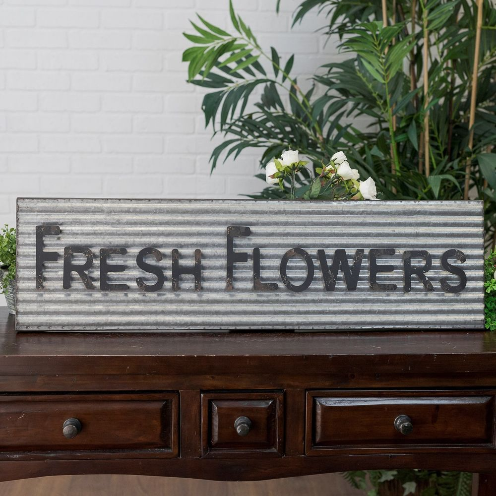 Corrugated Metal Sign Fresh Flowers Decorative Wall