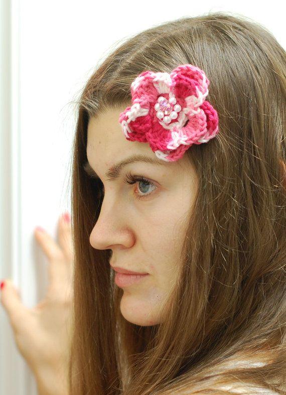Crochet hair clip hair holder hair accessory crochet by ZayaLosya