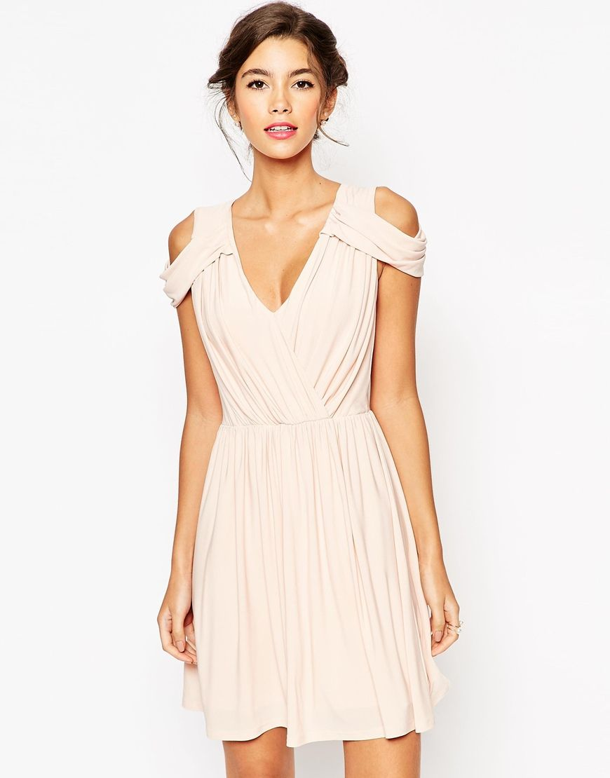 Image of asos wedding drape cold shoulder mini dress gowns