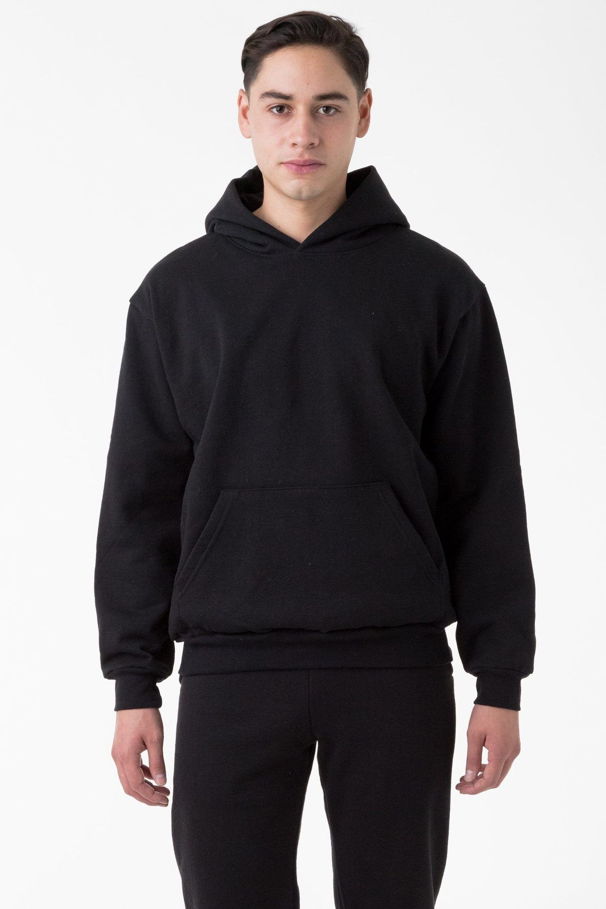 Hf09 14oz Heavy Fleece Hooded Pullover Sweatshirt In 2020 Hooded Pullover Black Sweatshirts Mens Sweatshirts