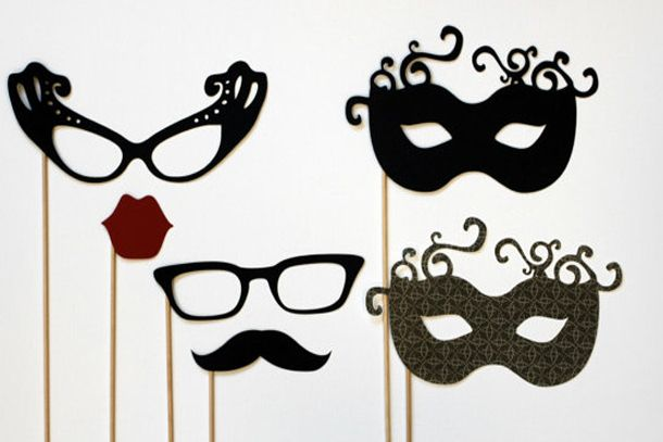 New year's eve and Masquerade party props on-a-stick