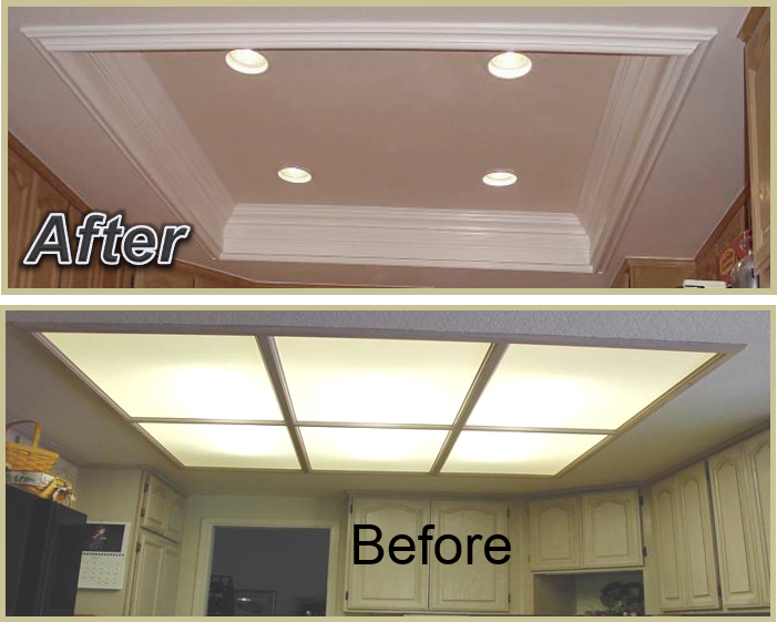 Kitchen Coffered Ceiling Giving Your Kitchen A Much Larger Feel And Cleaner Appearance The Ins Kitchen Lighting Remodel Ceiling Remodel Kitchen Ceiling Lights