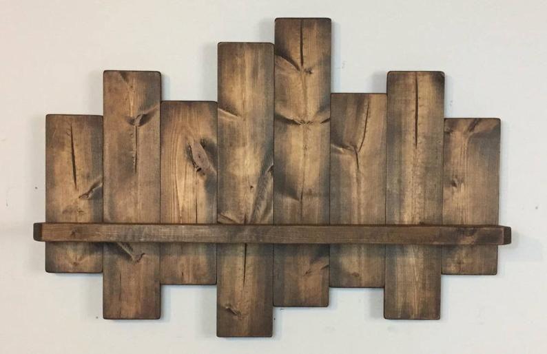 Estante de compensación rústico 40W; estantes offset, estantes de madera, decoración chic en mal estado, decoración rústica del hogar, decoración del país, casa de campo