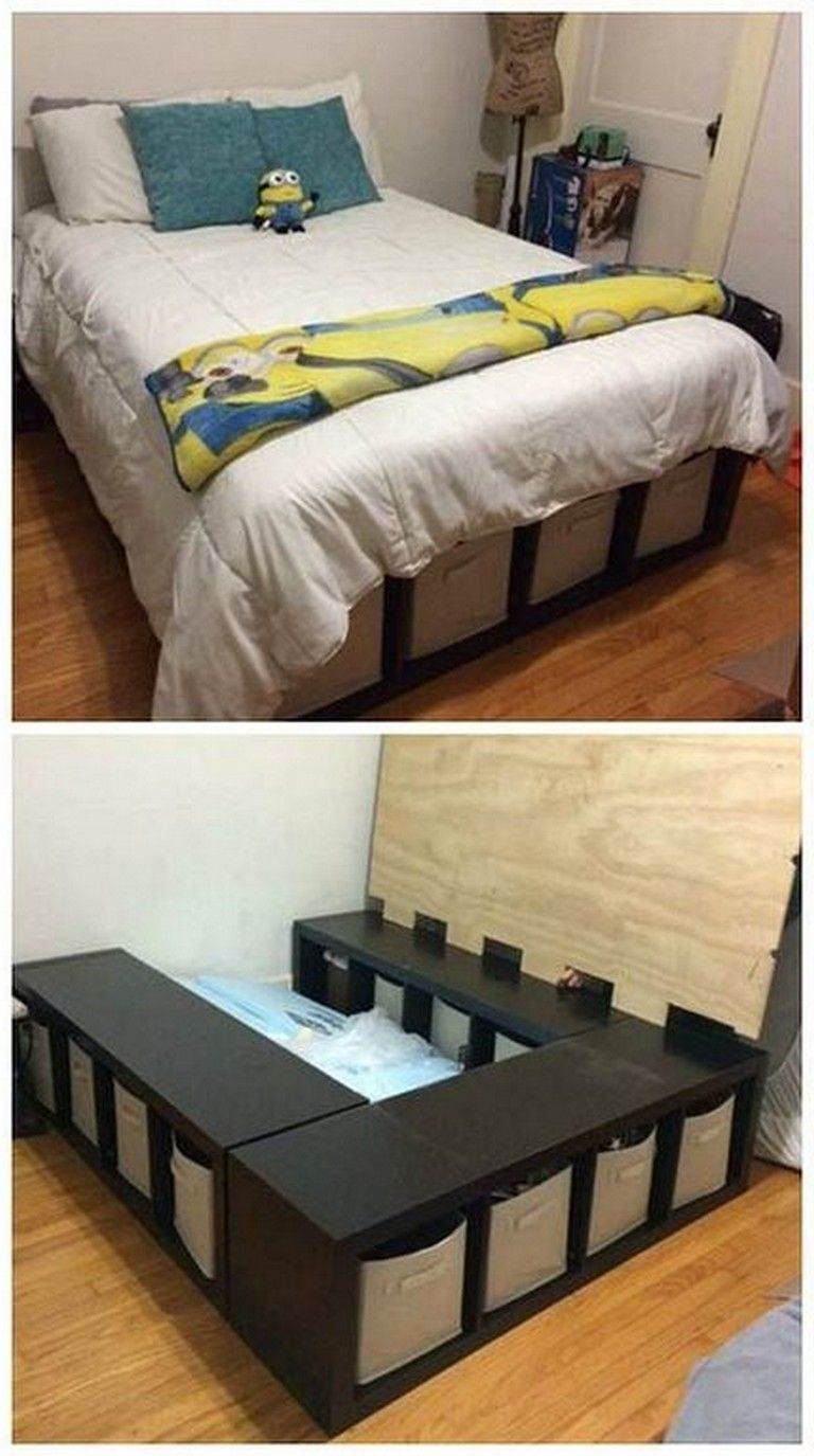 24 Simple And Cheap Diy Bed Frame Designs With Storage Bedroomdecor Bedroomdesign Bedroomd Diy Bed Frame Cheap Diy Furniture Bedroom Diy Home Decor Bedroom
