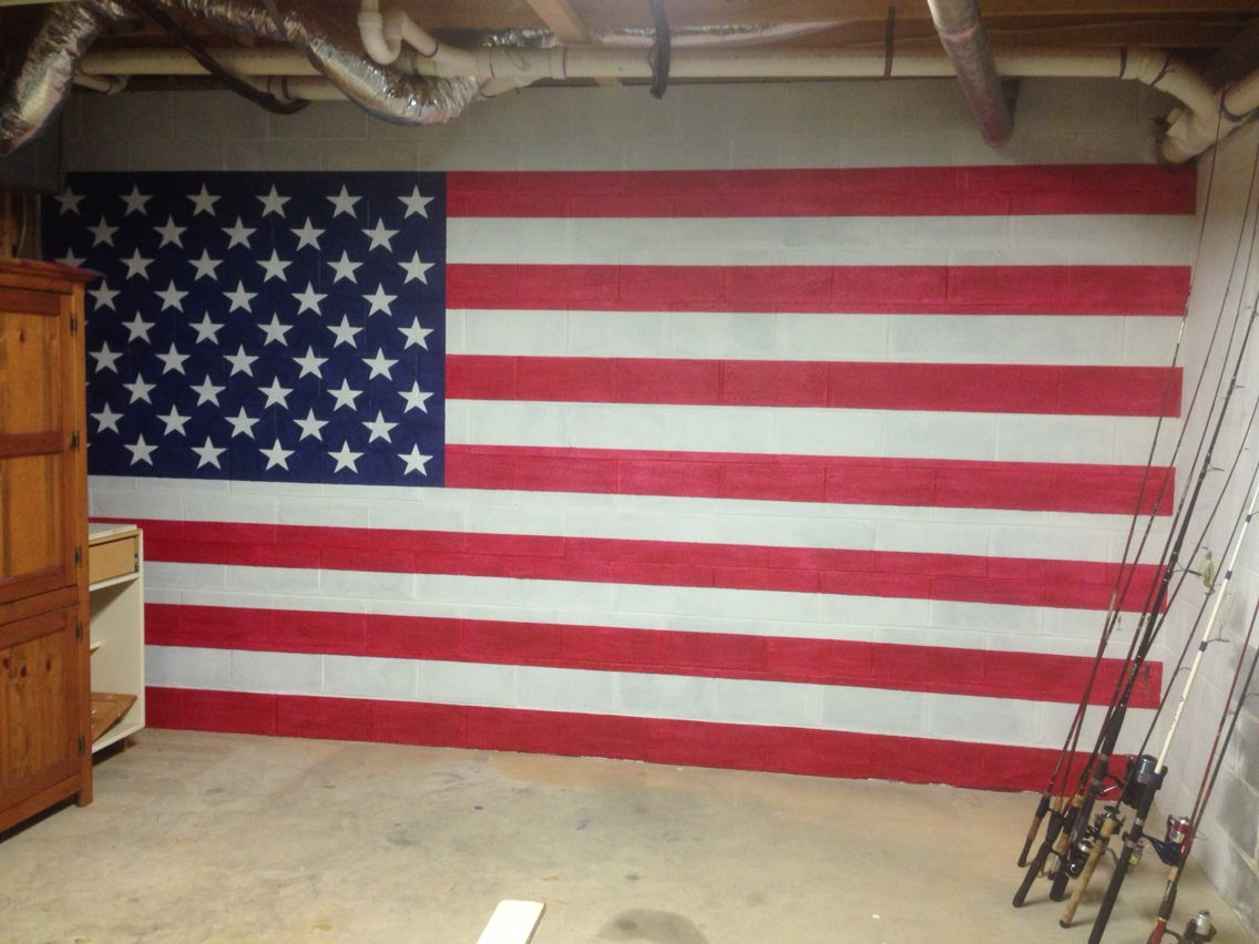 American Flag Painted On Cinder Block Basement Wall. After Applying Drylok,  I Just Couldn