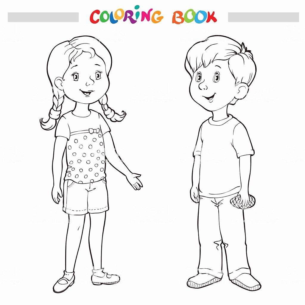 Boy And Girl Coloring Page Elegant Coloring Book Page Boy And Girl Stock Vector Art Mor Boy And Girl Drawing Coloring Pages For Girls Coloring Pages For Boys