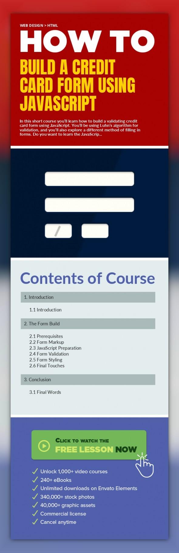 Build A Credit Card Form Using Javascript Web Design Html Web