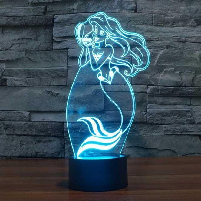 The Little Mermaid 3d Illusion Lamp Baby Night Light 3d Led Night Light Mermaid Lamp