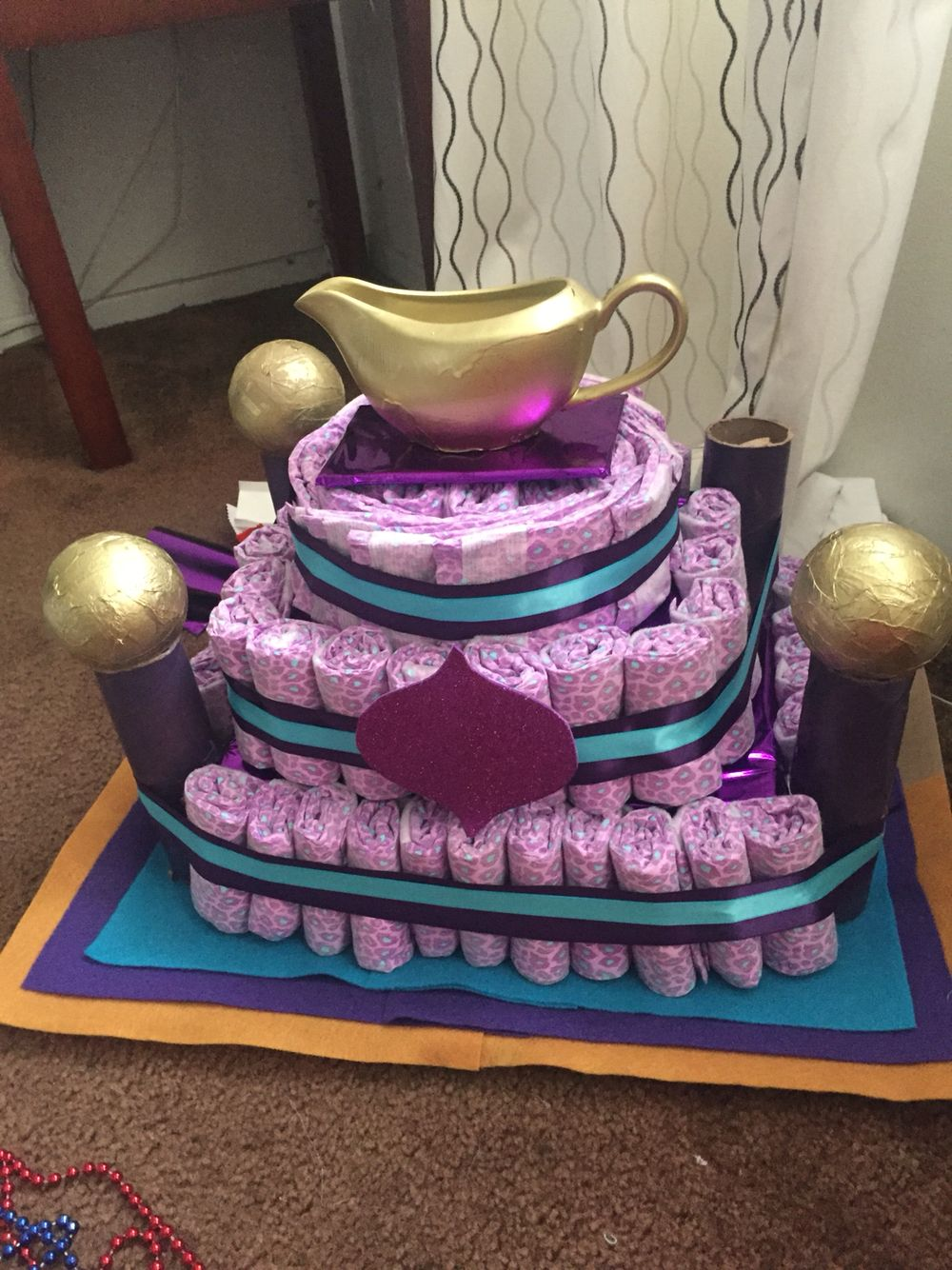 Princess Jasmine Themed Babyshower Diaper Cake