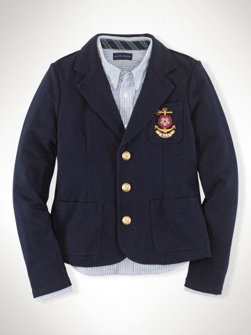 Knit Cotton Blazer Girls 7 16 Outerwear Jackets Ralphlauren Com Outerwear Jackets