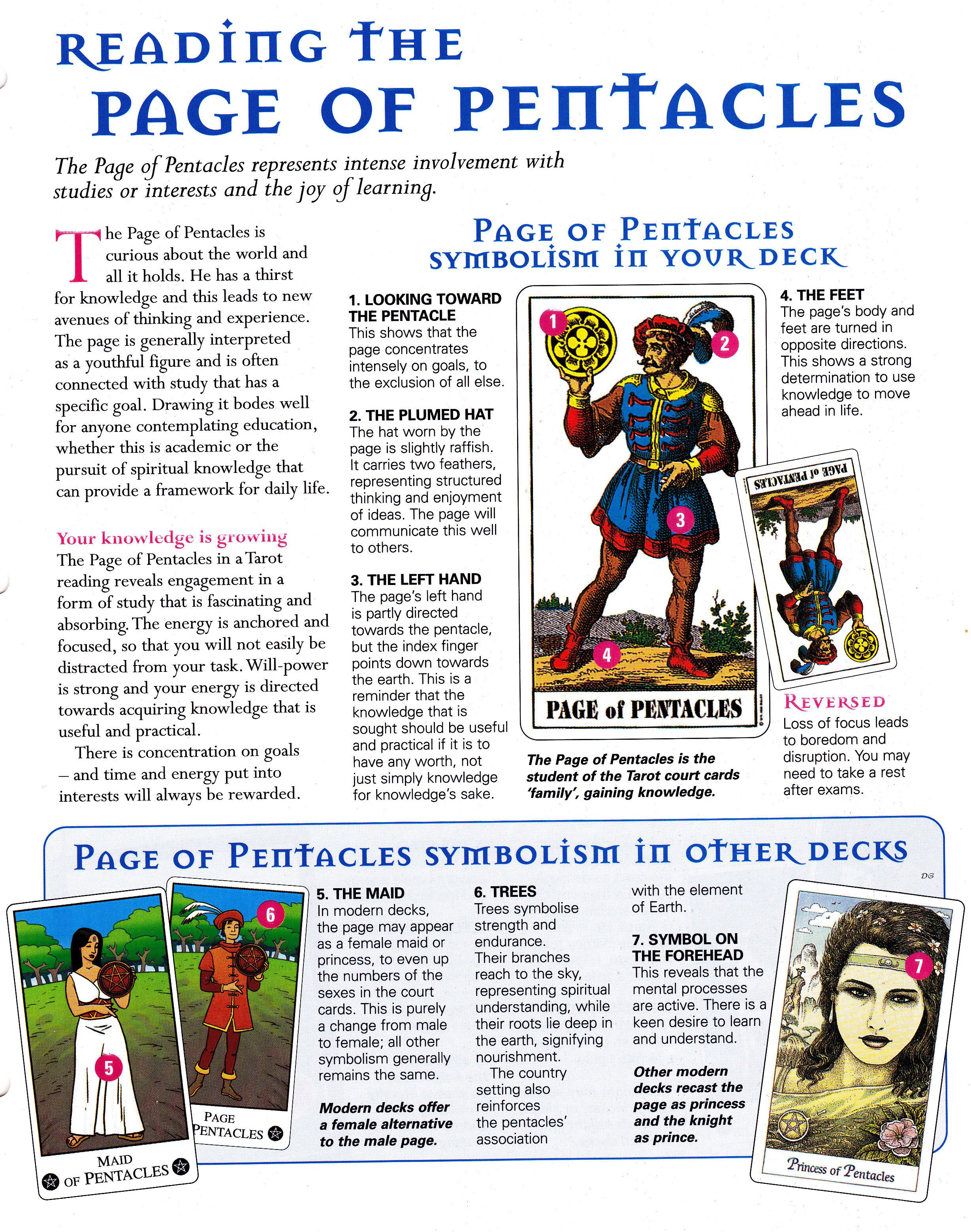 Reading the page of pentacles