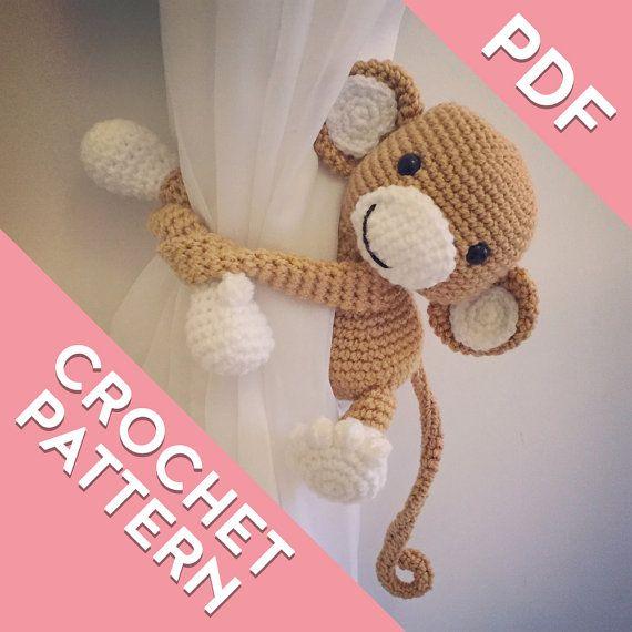 Monkey curtain tie back crochet PATTERN, tieback, left or right side ...