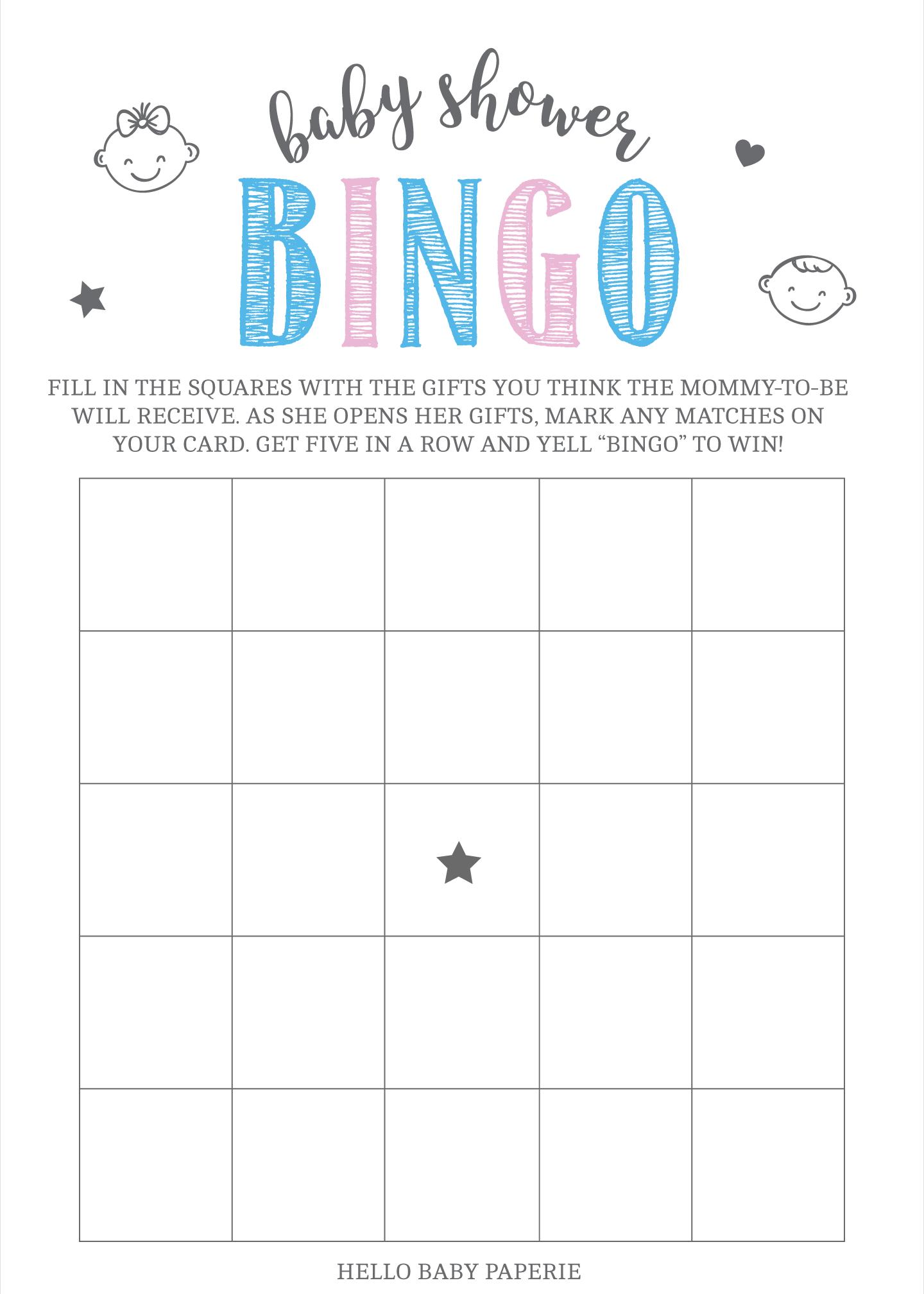 Pink And Blue Blank Bingo Game Template Bingo Games Bingo Printable Baby Shower Invitations