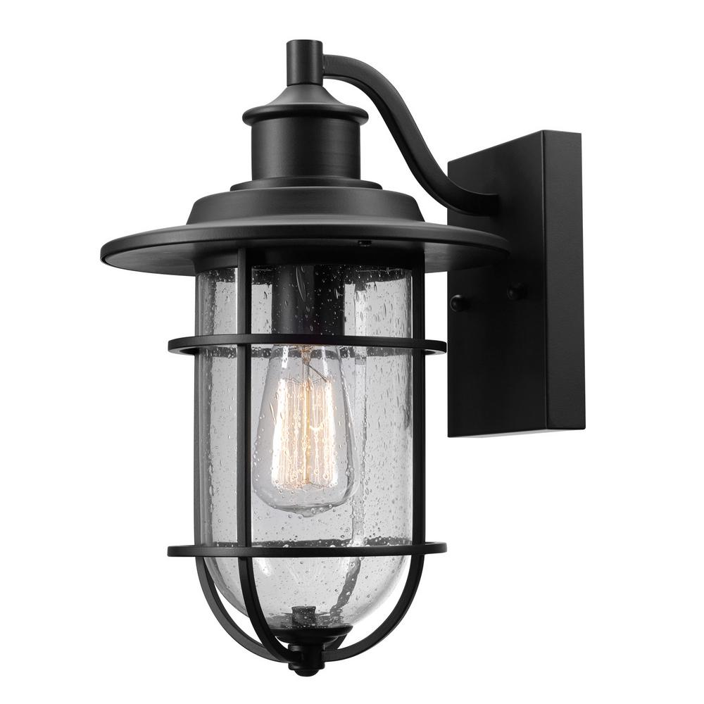 Globe Electric Turner 1 Light Black And Seeded Glass Outdoor Wall Mount Sconce 44094 Outdoor Sconces Outdoor Wall Sconce Indoor Wall Sconces