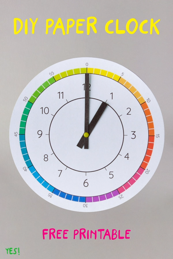 Looking for simple ideas how to teach your toddler or preschooler about time? With a paper clock! We have designed a colorful paper clock template with a simple diy tutorial to make it at home! So much fun learning about time! #yeswemadethis #tellingtime #diypapercrafts #diypaper #learningactivities