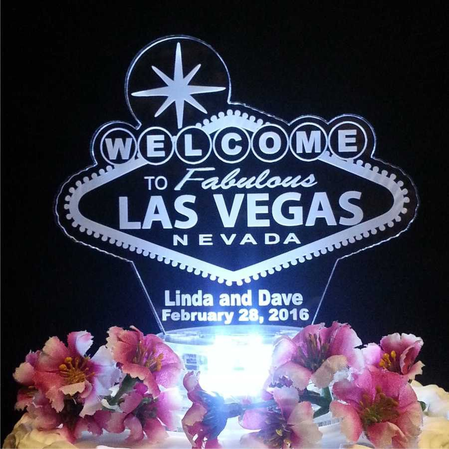 Las Vegas Sign Lighted Wedding Cake Topper Acrylic Laser Engraved By FinesseLaserDesigns On Etsy