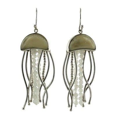 d42eafcf5 Sterling Silver Fossilized Walrus Ivory Rainbow Moonstone Jellyfish Dangle  Earrings by Zealandia