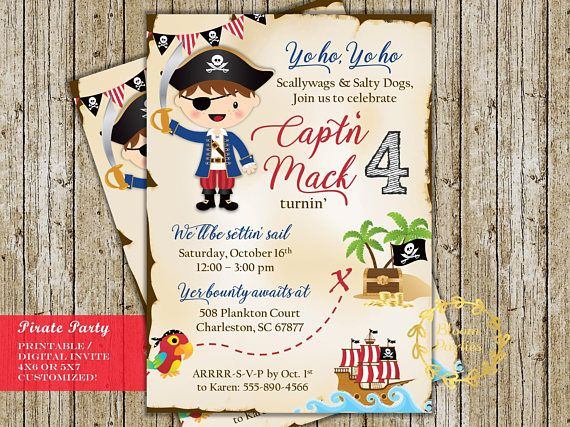 pirate birthday invitation pirate party