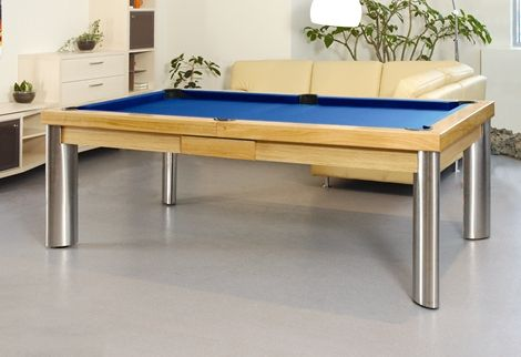 Oak Pool Table With Royal Blue Cloth And Silver Legs