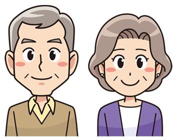 笑顔の年配夫婦 無料イラスト素材 การออกแบบต วละคร ภาพประกอบ