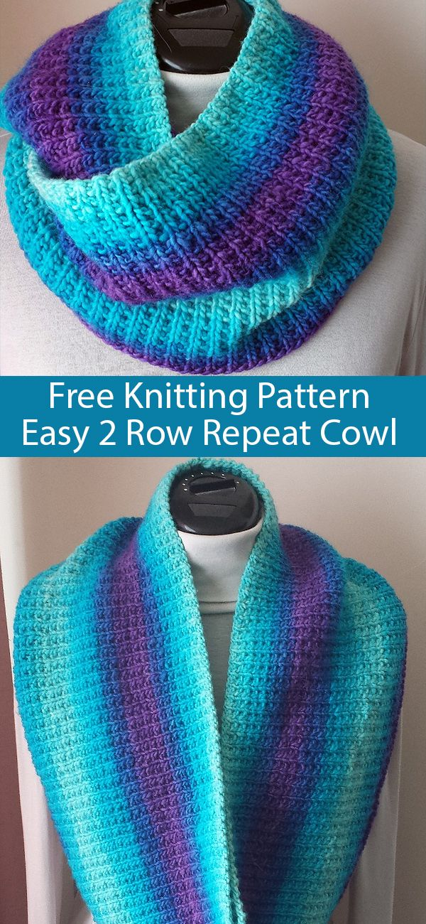 Free Knitting Pattern for Easy 2 Row Repeat Broken Rib Cowl  #knittingpatternsfree