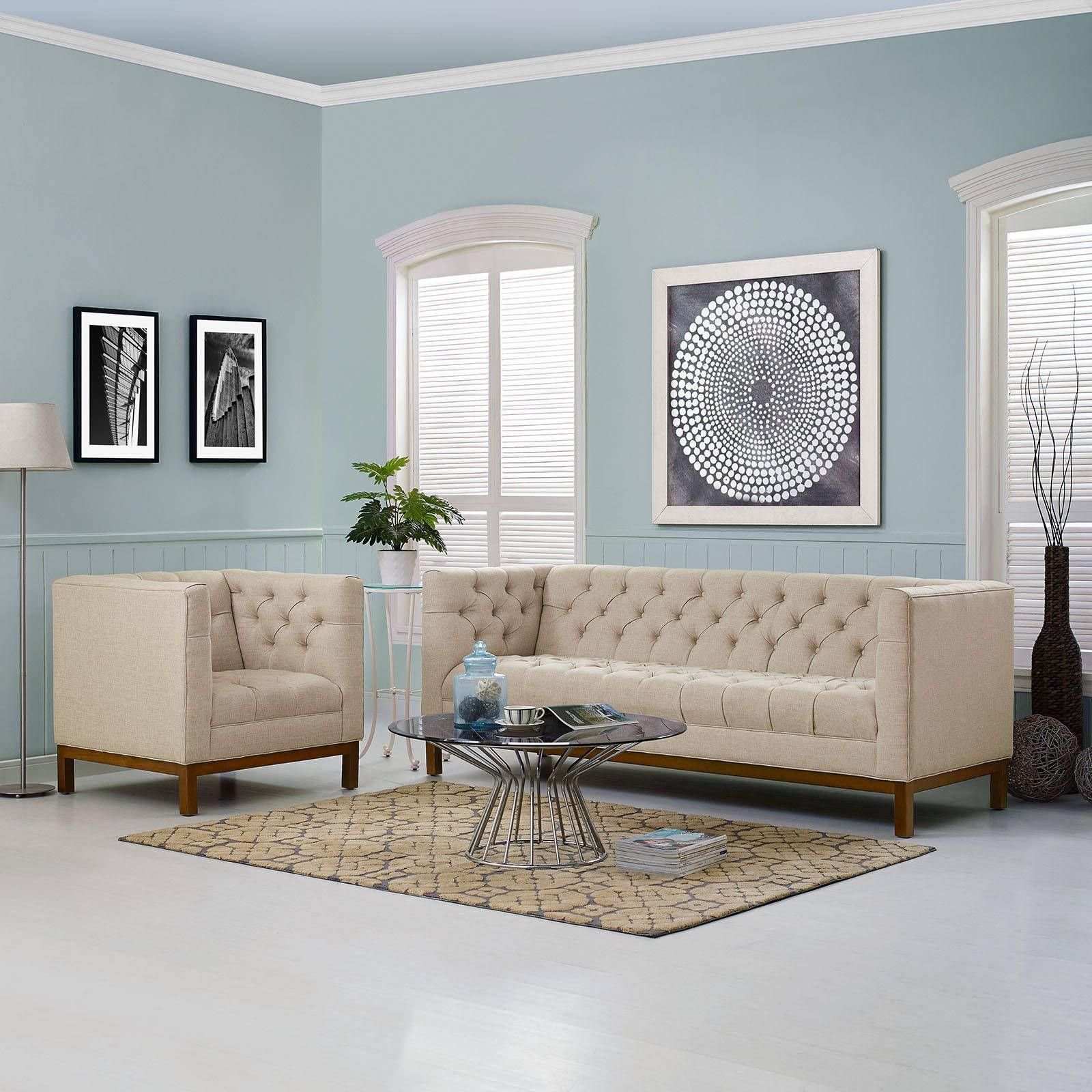 Best Panache Vintage Beige Fabric Solid Wood 2Pc Living Room Set 400 x 300