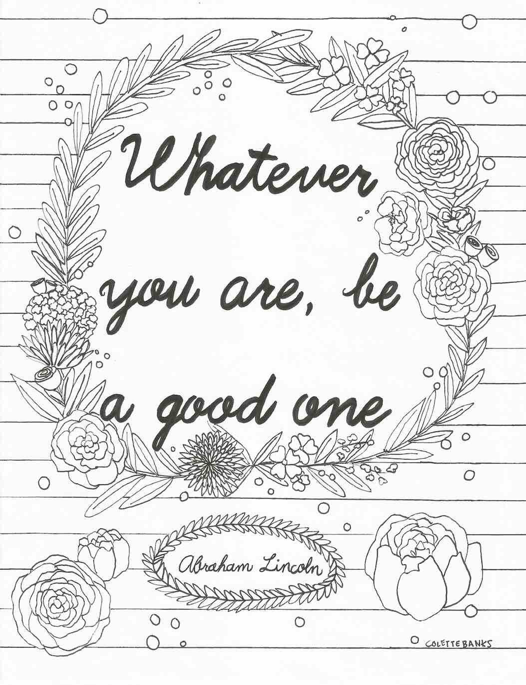 Quote Adult Printable Coloring Page Featuring A Quote From Abraham Lincoln And Includes A Floral
