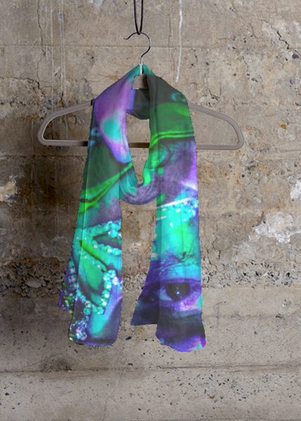Cashmere Silk Scarf - Flames in Dark Blue by VIDA VIDA UnmuS